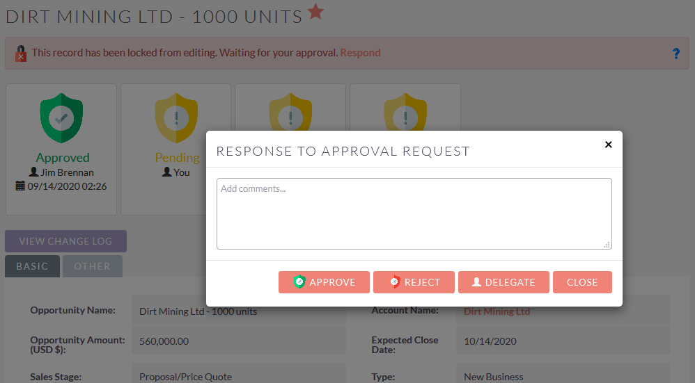 SuiteCRM approval process locked record