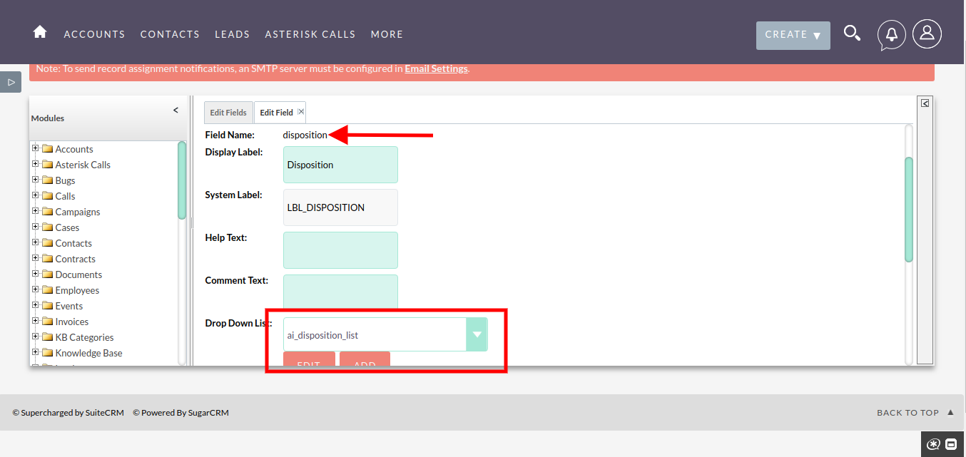 User Guide | Asterisk Integration With SuiteCRM