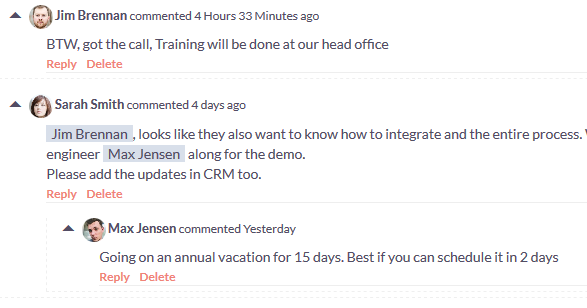 Collaborative communication with transparency among the team