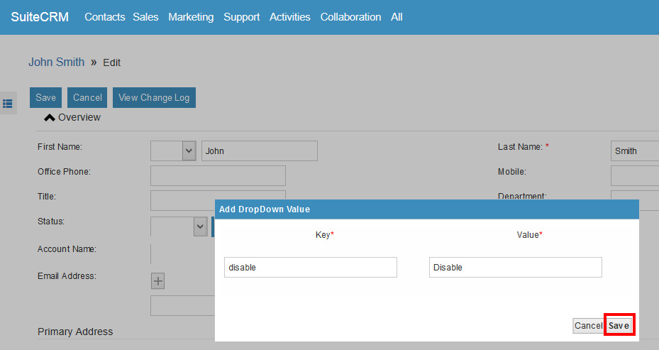 SuiteCRM Editview add new option in dropdown
