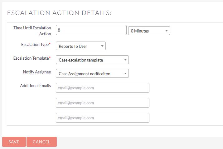 SuiteCRM Case Escalation action details