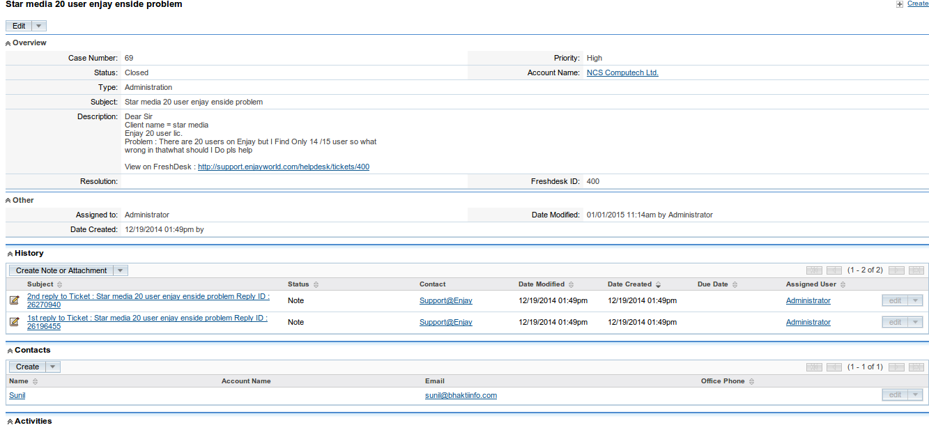 Freshdesk SuiteCRM Detail View