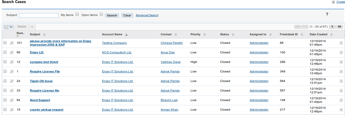 Freshdesk SuiteCRM List View
