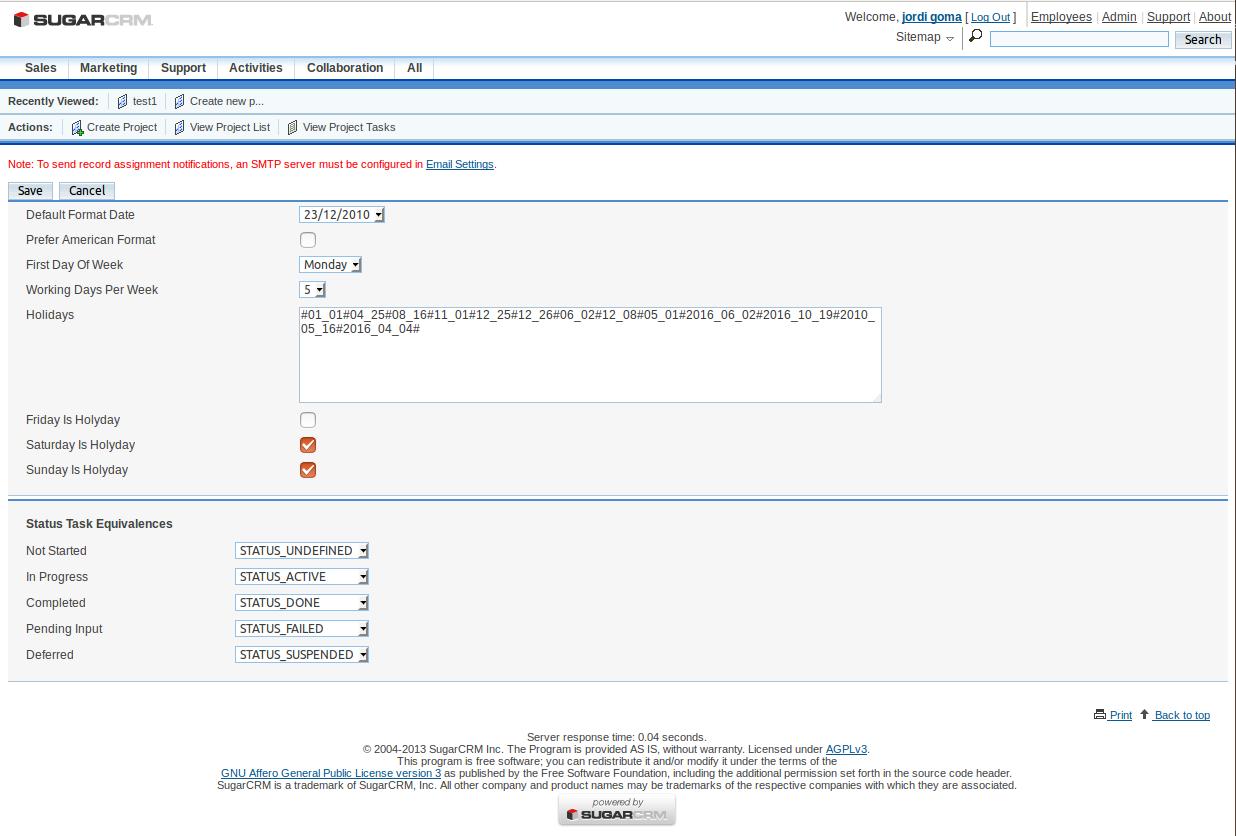 Configure Gantt Project