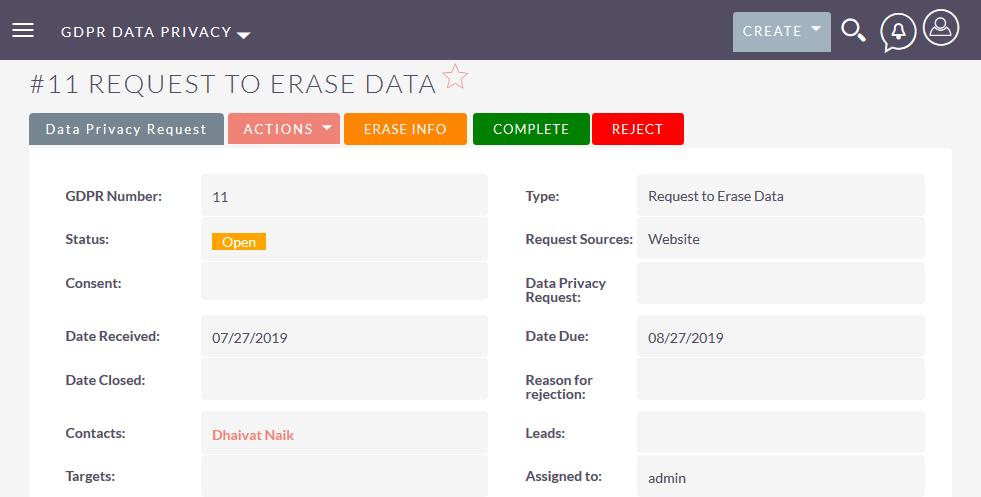 Handle Erasure request of GDPR in SuiteCRM