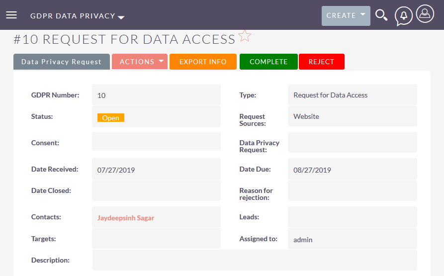 Send consent form Link for Listview of SuiteCRM