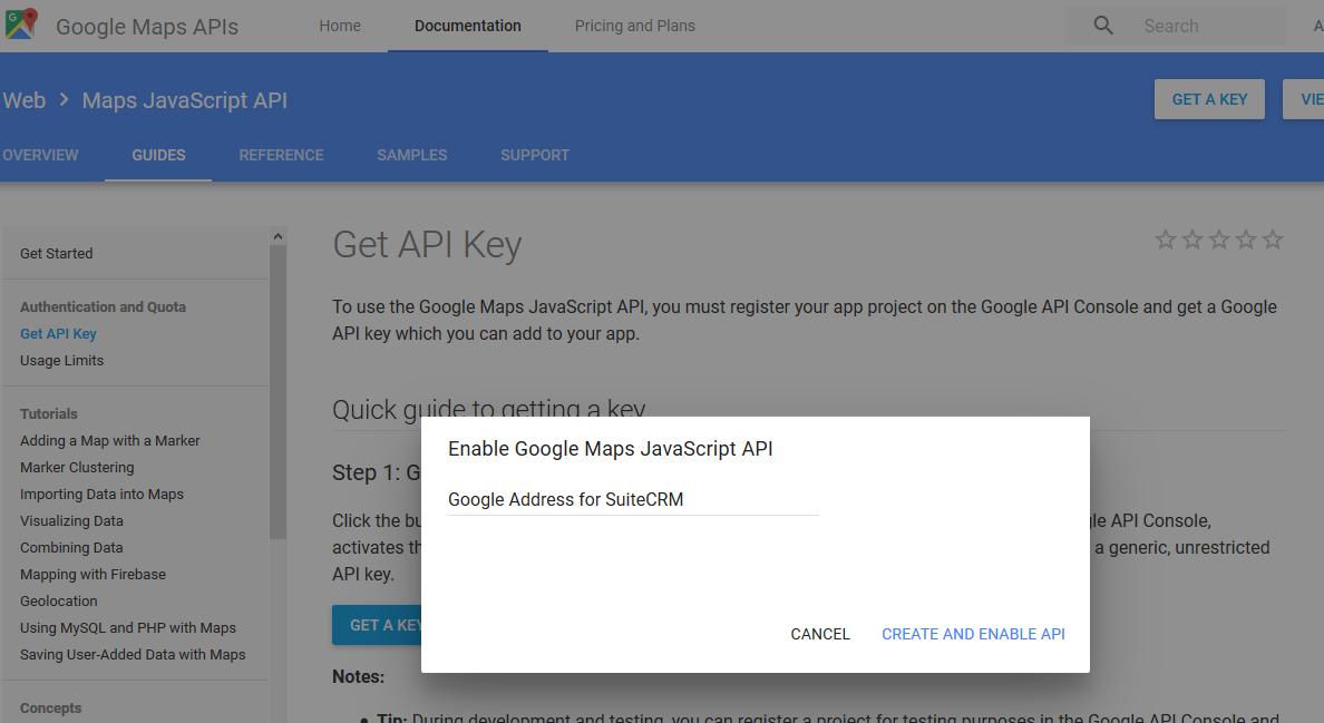 SuiteCRM Google map API Key Step-2