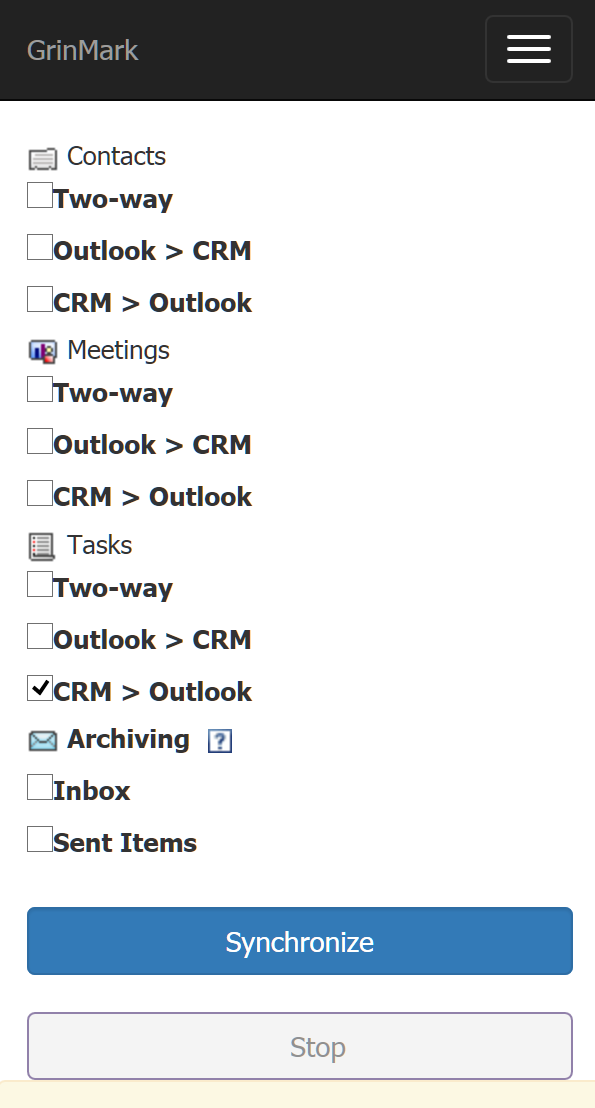 SuiteCRM and Outlook Items Synchronization