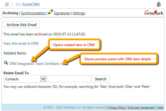 SuiteCRM and Outlook Email Archiving