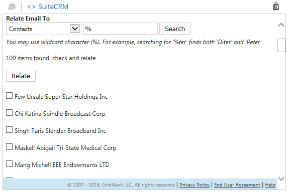 Relating emails to CRM items