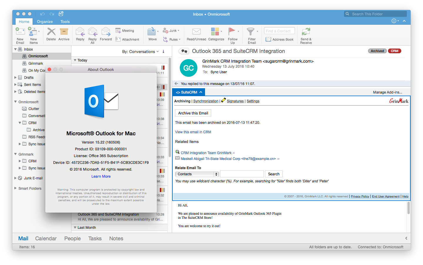SuiteCRM and Outlook on a Mac