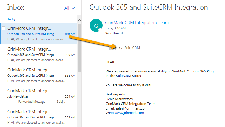 SuiteCRM and Outlook Email Integration