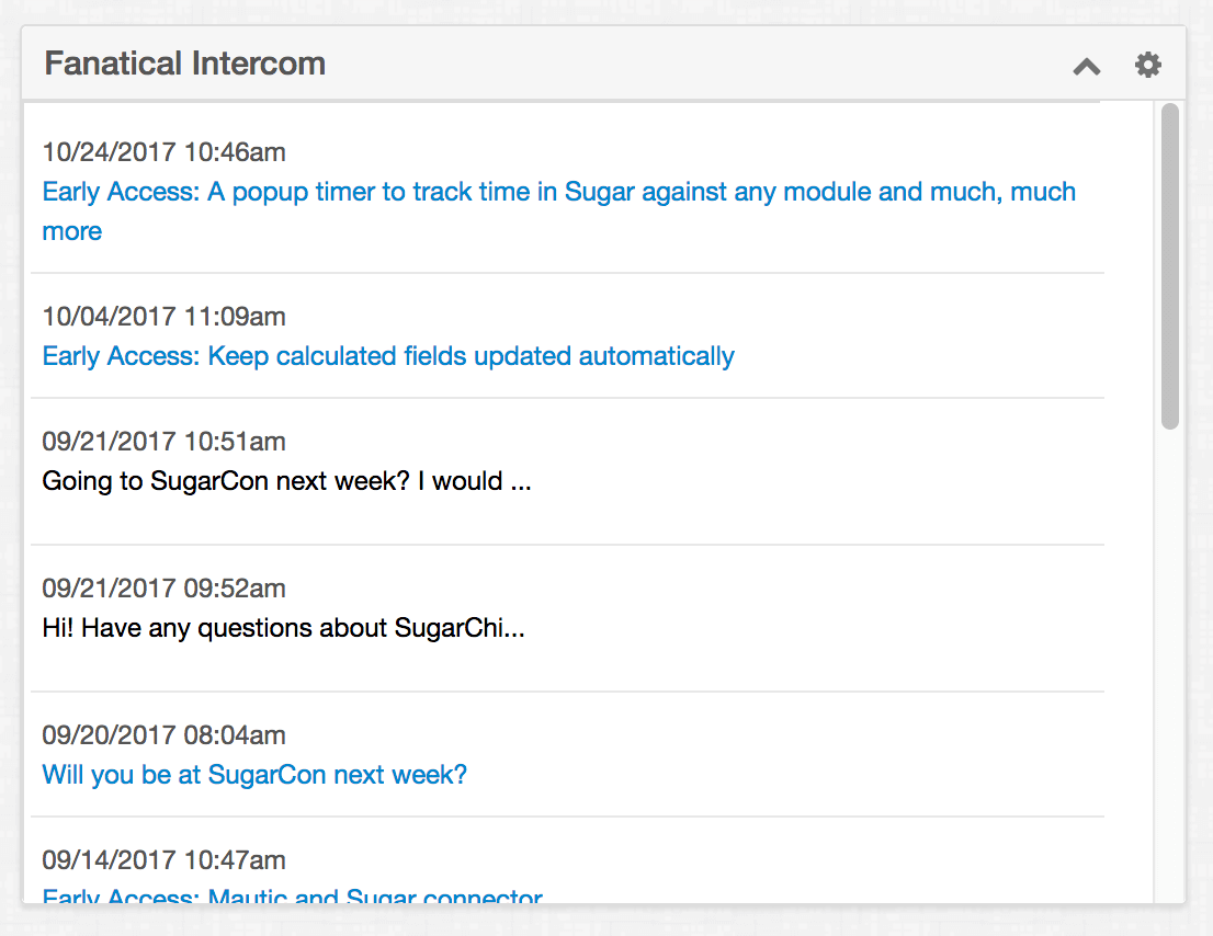 SuiteCRM Intercom Chat Conversations