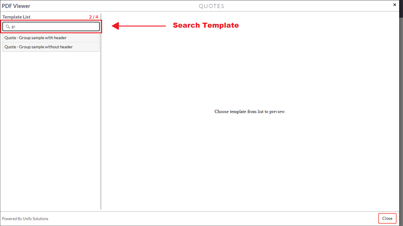Search templates feature using PDF Template Viewer add-on for SuiteCRM