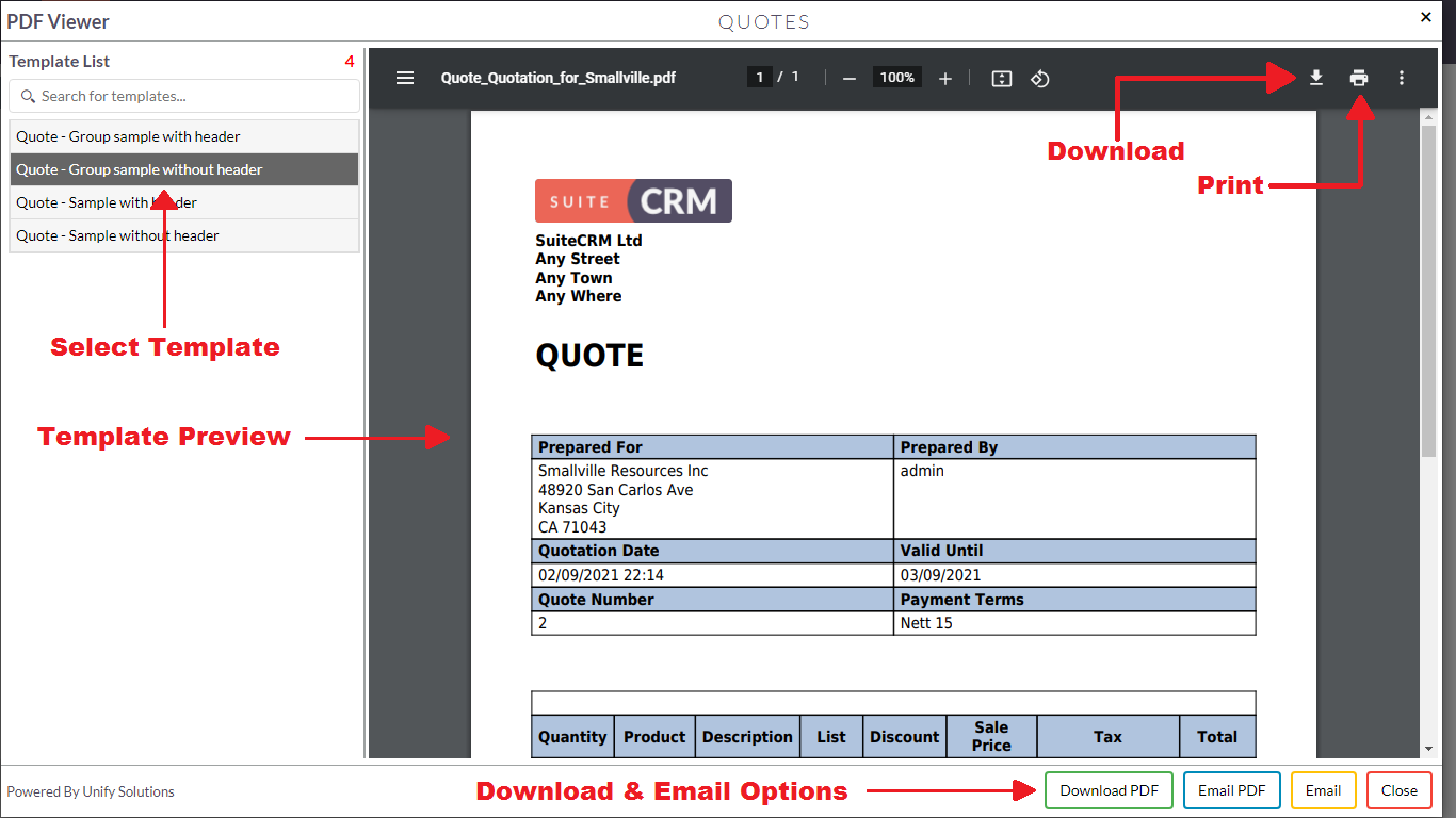 Download or email docs using PDF Template Viewer add-on for SuiteCRM