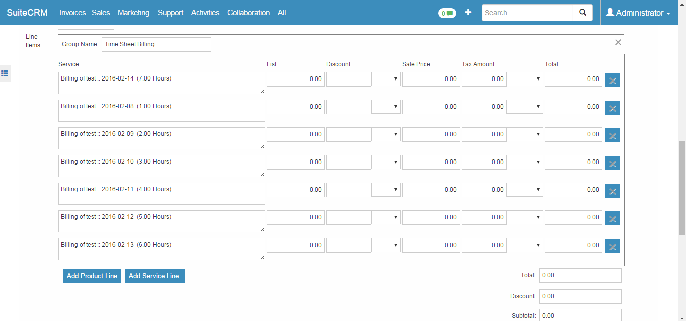 suitecrm timesheets invoicing suitecrm module