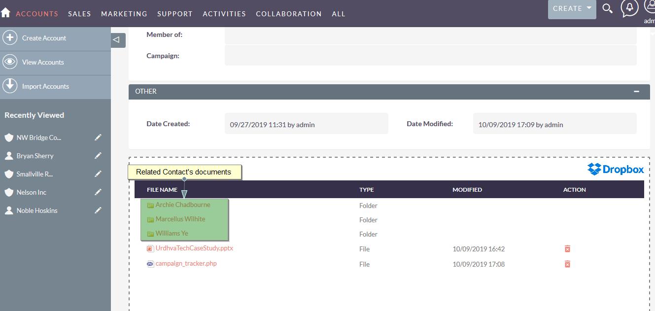 SuiteCRM Dropbox integration Account documents