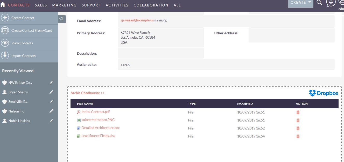 SuiteCRM Dropbox integration Contacts detailview