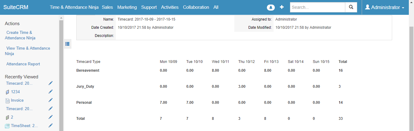 View time off data in SuiteCRM