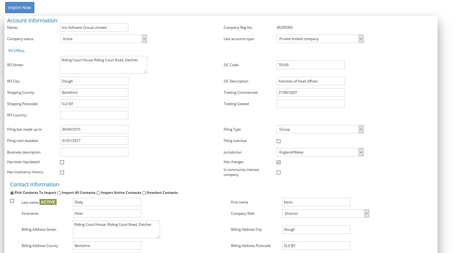 Company Registration details
