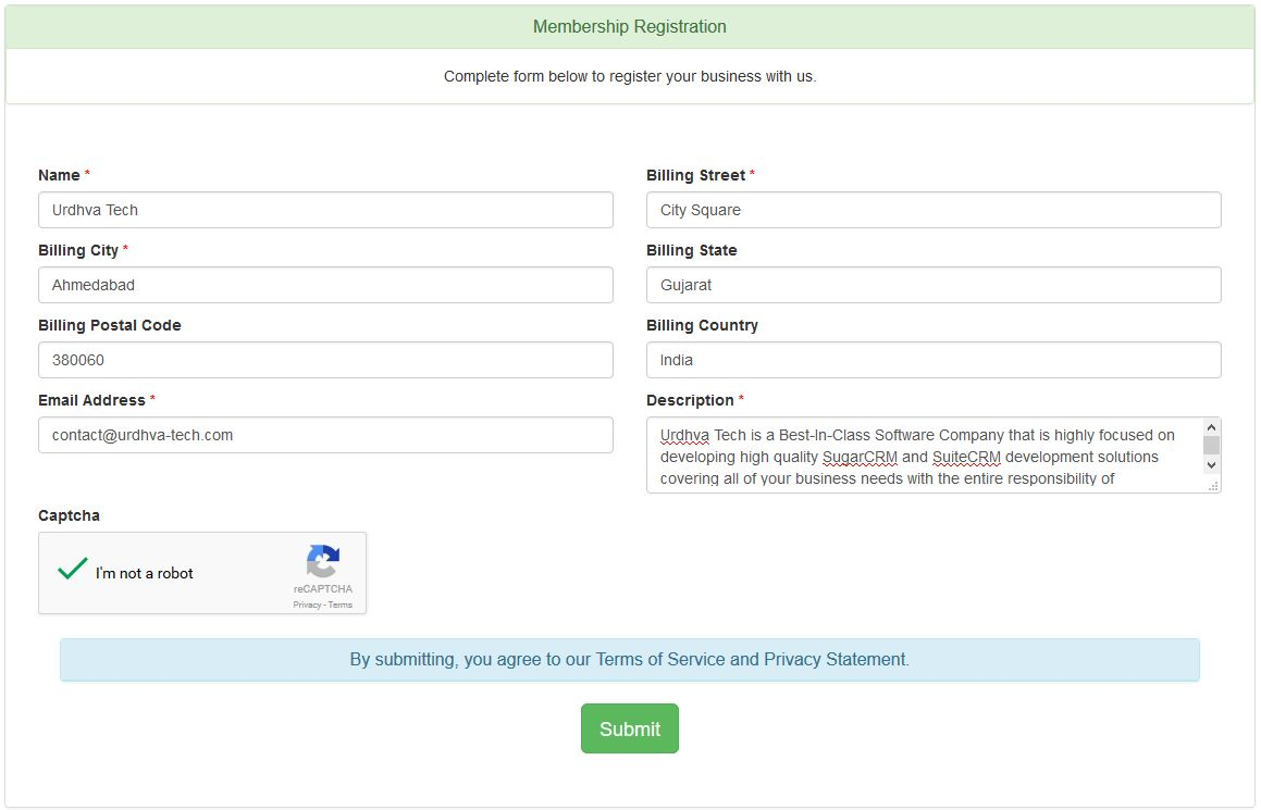 Custom webform for SuiteCRM