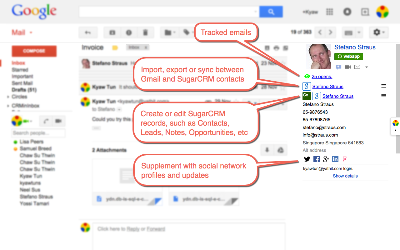 Gmail sidebar for SuiteCRM