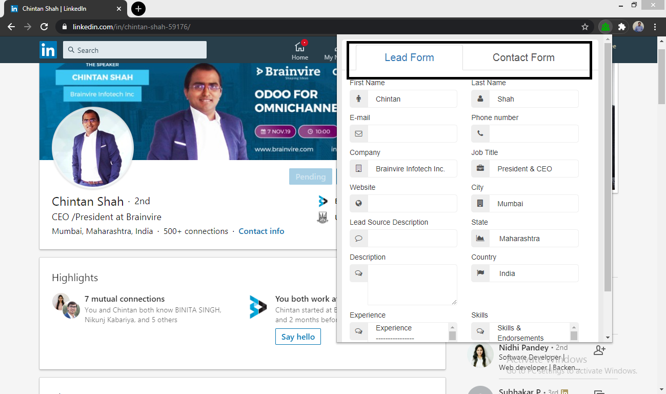 BV LinkedIn Integration for SuiteCRM lead form