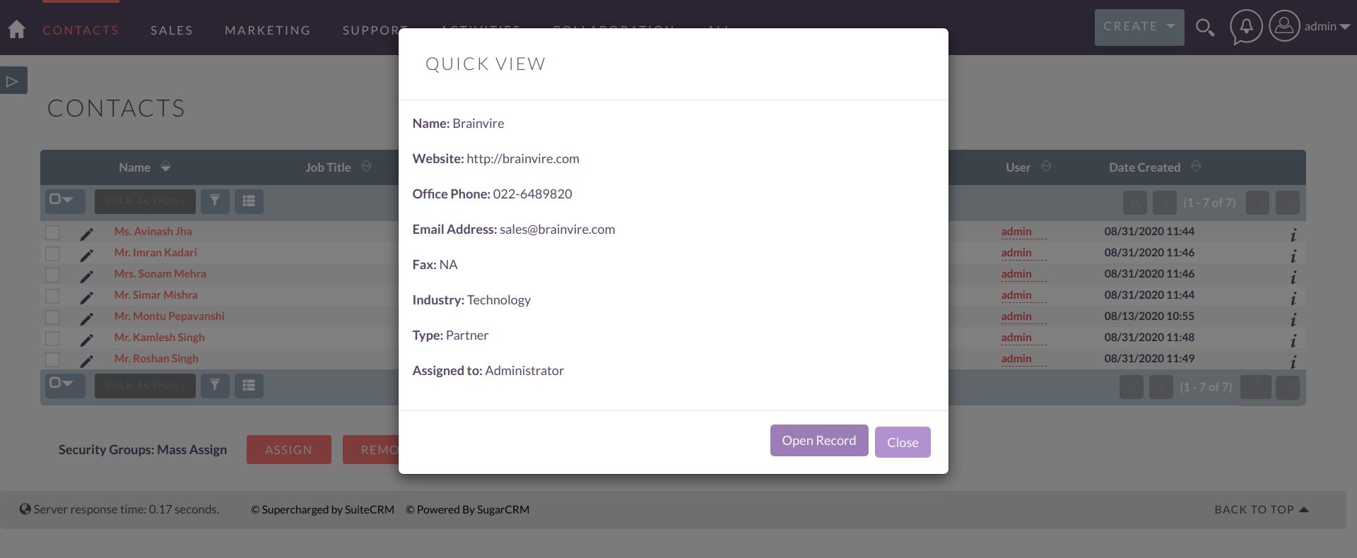 Relate Quickview add-on for SuiteCRM List View