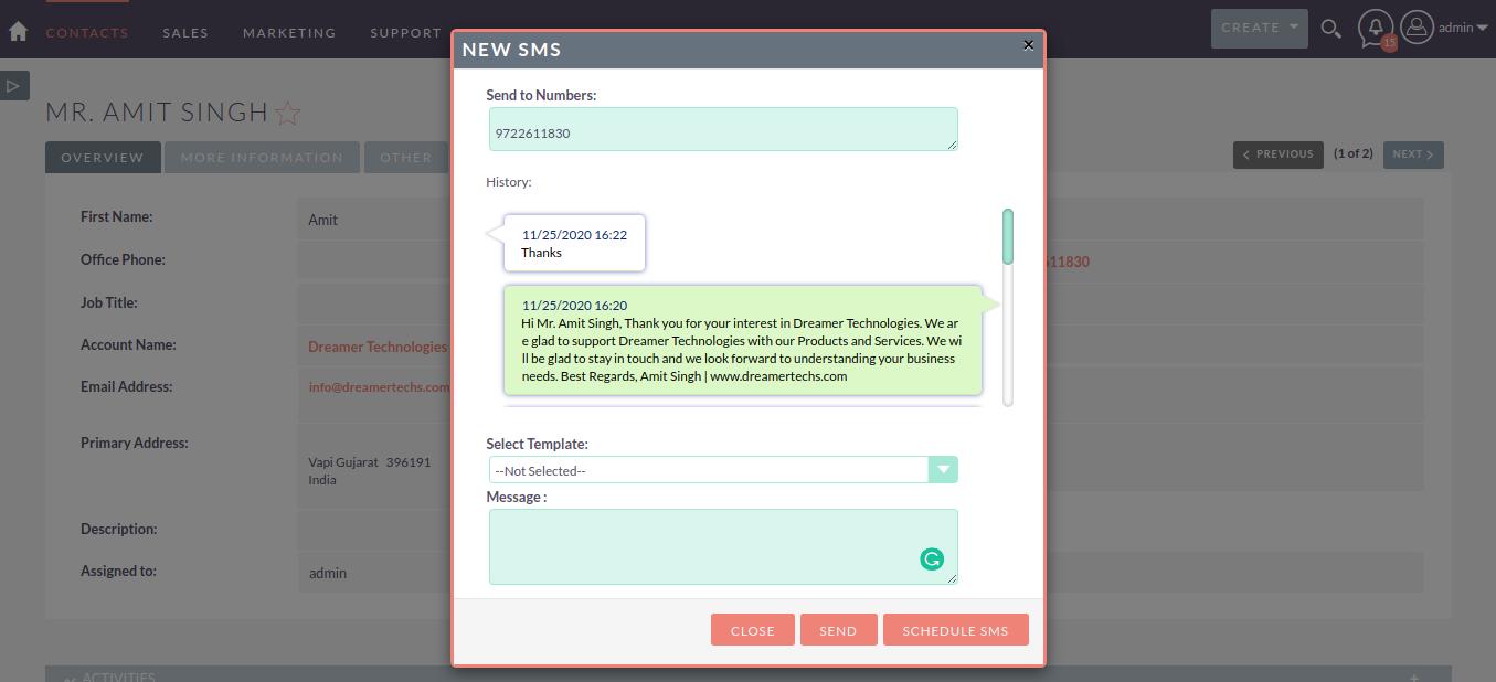 SMS Integration with SuiteCRM Conversation Views