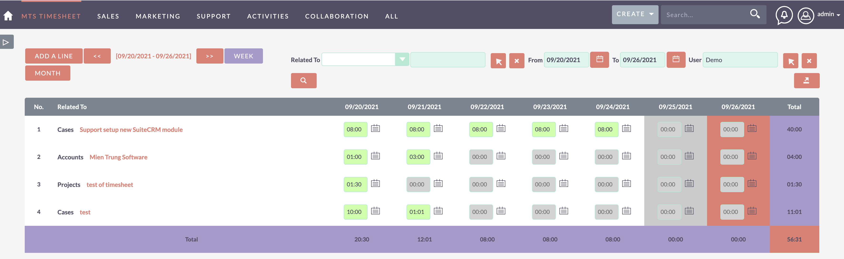 MTS Timesheet add-on for SuiteCRM activity tracking