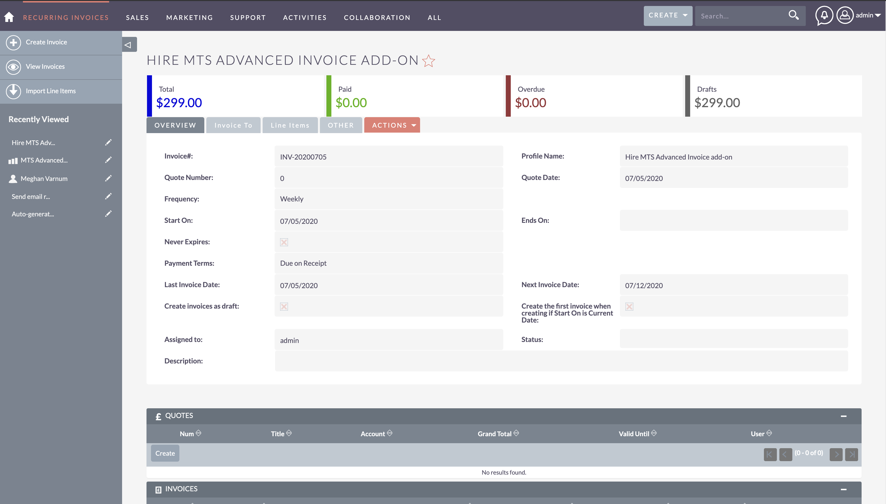 MTS Advanced Invoice add-on for SuiteCRM