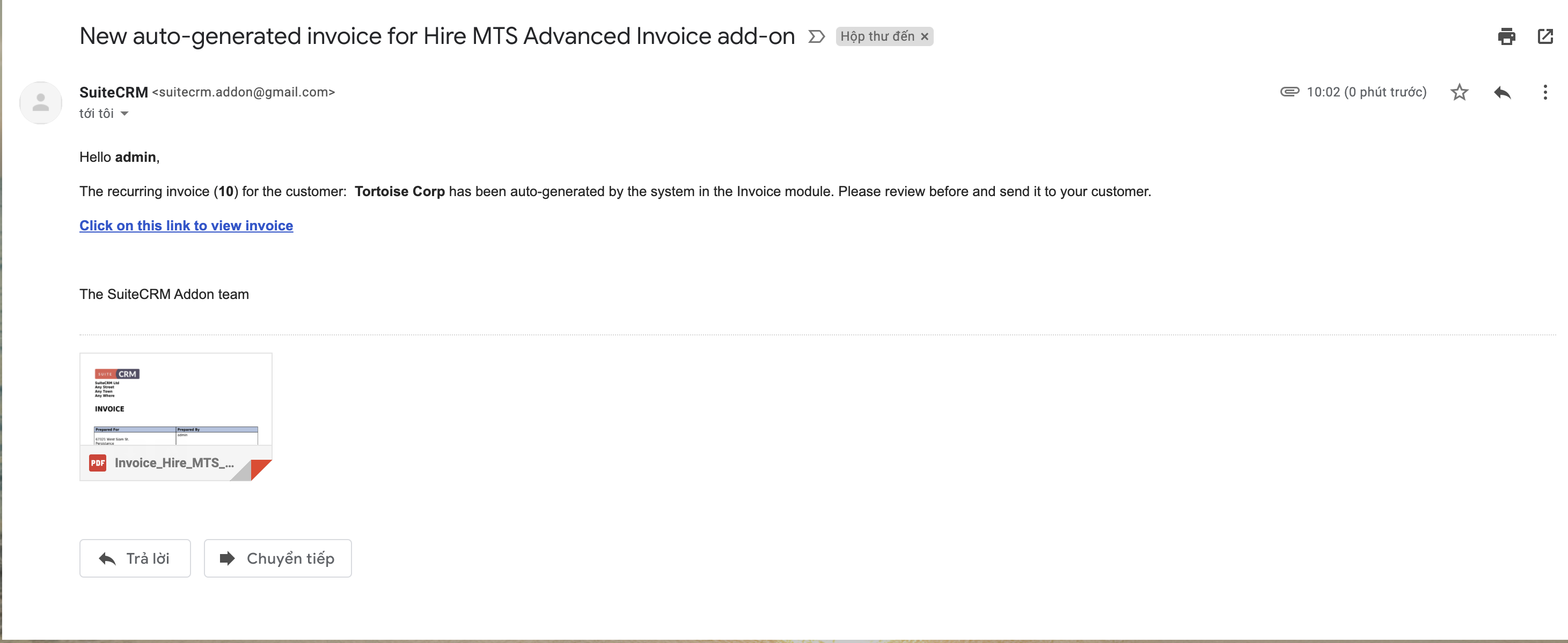MTS Advanced Invoice add-on for SuiteCRM auto-generated