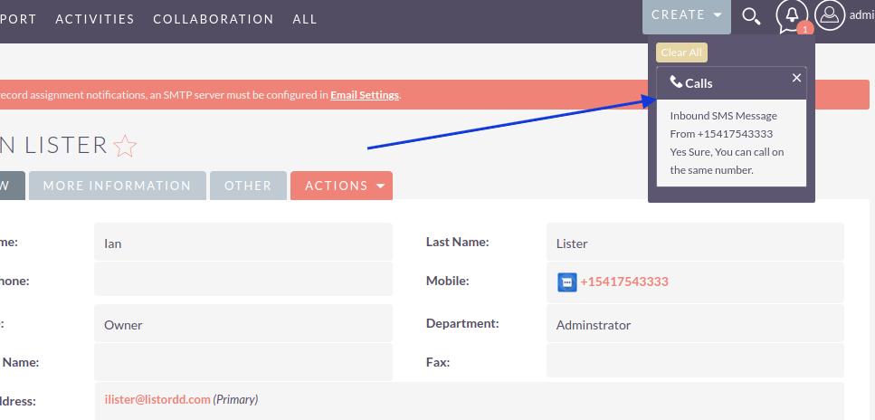 SuiteCRM SMS Integration inbound alert