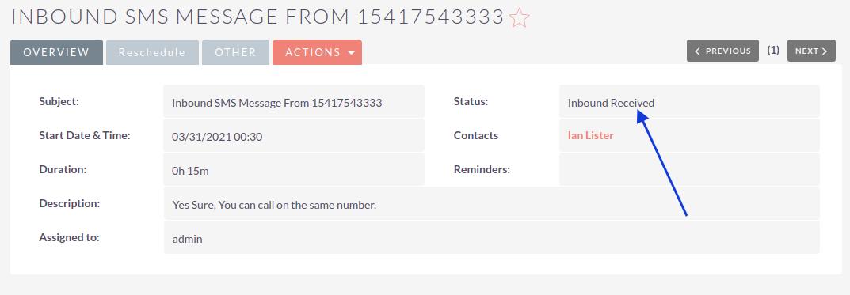 SuiteCRM SMS Integration received log