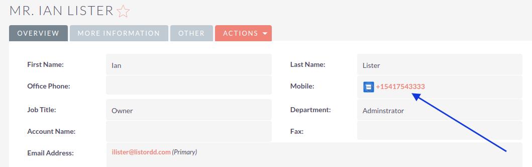 SuiteCRM SMS Integration DetailView