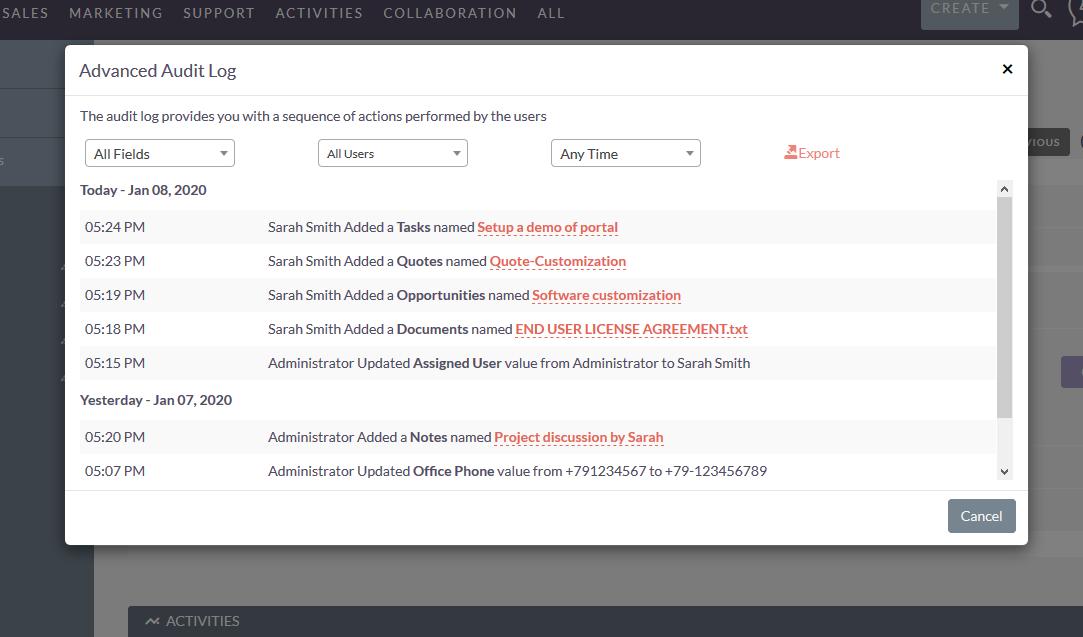 SuiteCRM Advanced audit log