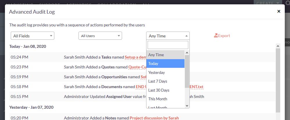 SuiteCRM Advanced audit log filter option