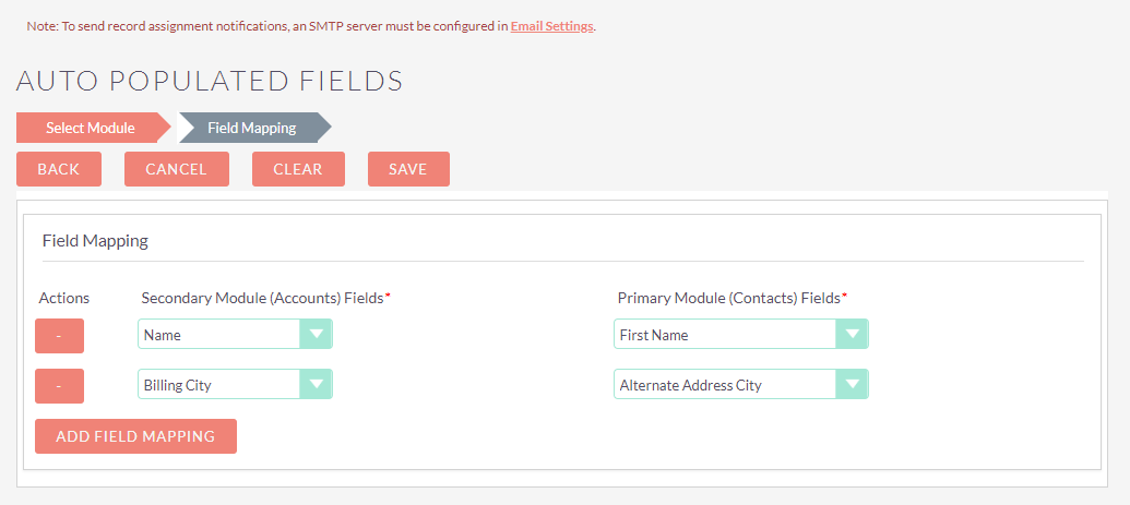 Select Fields to Map