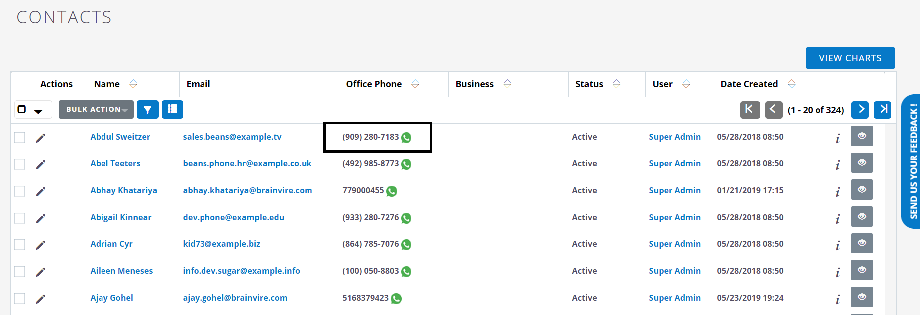 Contact listing in Twilio WhatsApp Extension for SuiteCRM