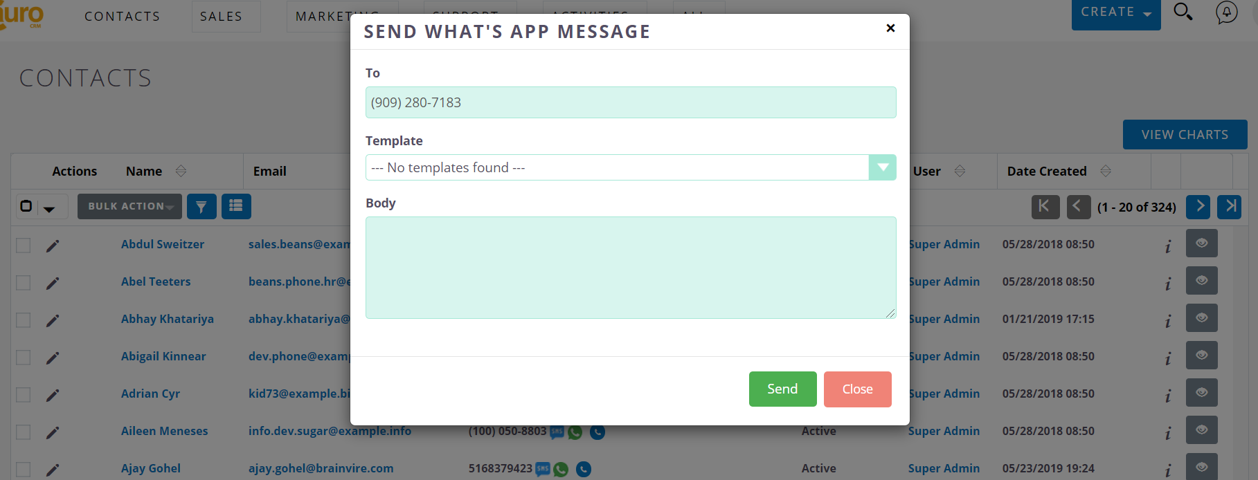 Popup in Twilio WhatsApp Extension for SuiteCRM