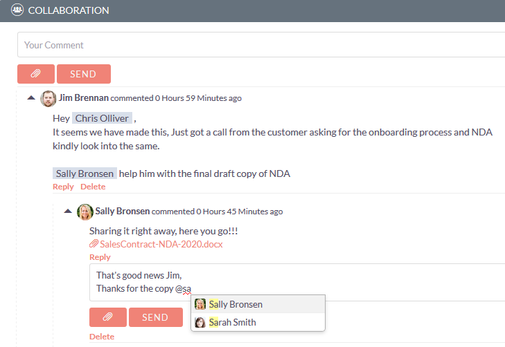 Collaboration add-on for SuiteCRM user mentions