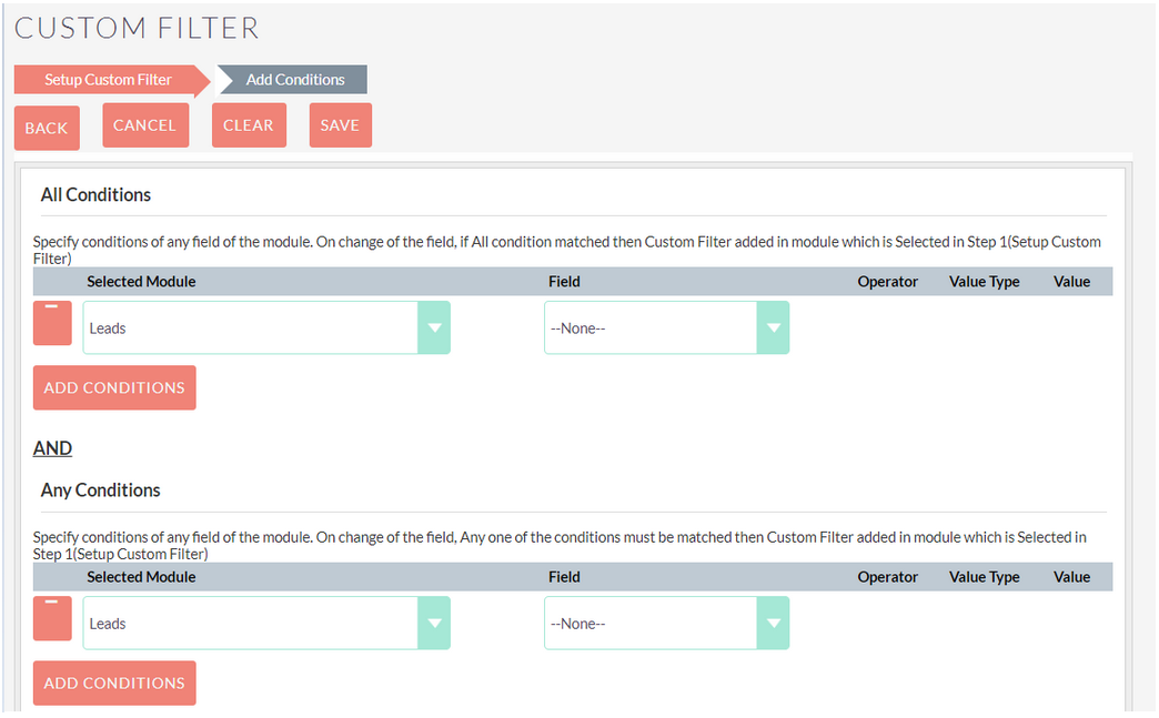 Custom Filter SuiteCRM Add-on filter condition