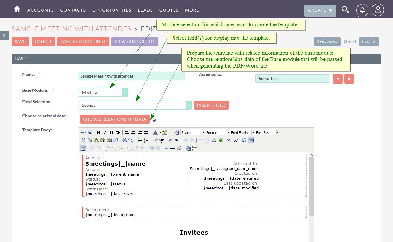 Doc Template Editor in SuiteCRM
