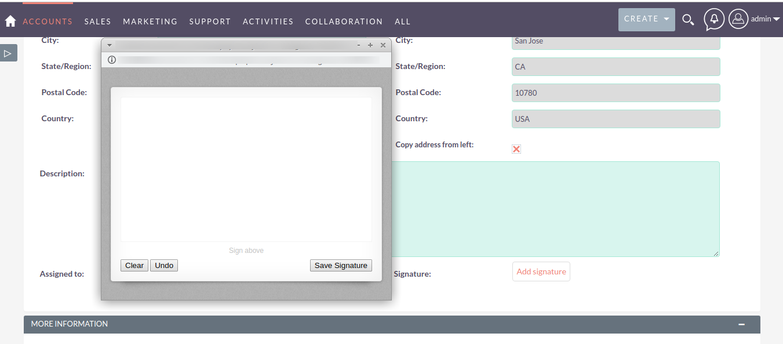 E-Signature Field for SuiteCRM signature pad