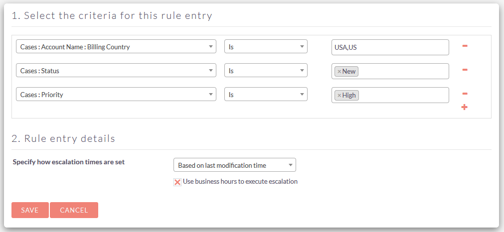 Escalation Management add-on for SuiteCRM rule