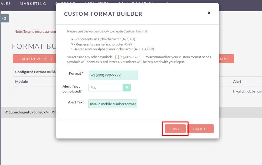 Configure Field Formats in SuiteCRM
