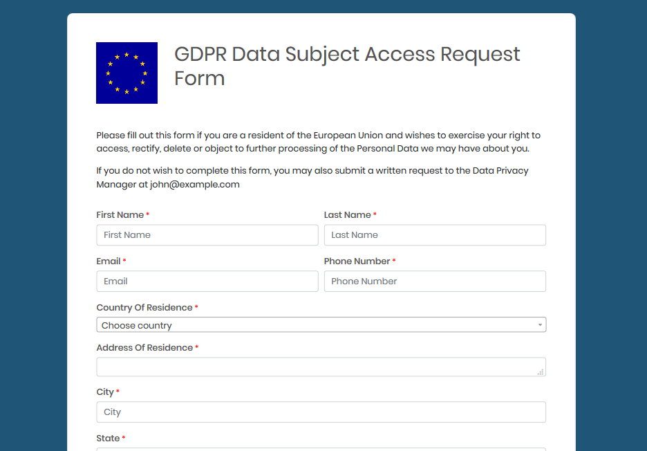 GDPR subject request web form