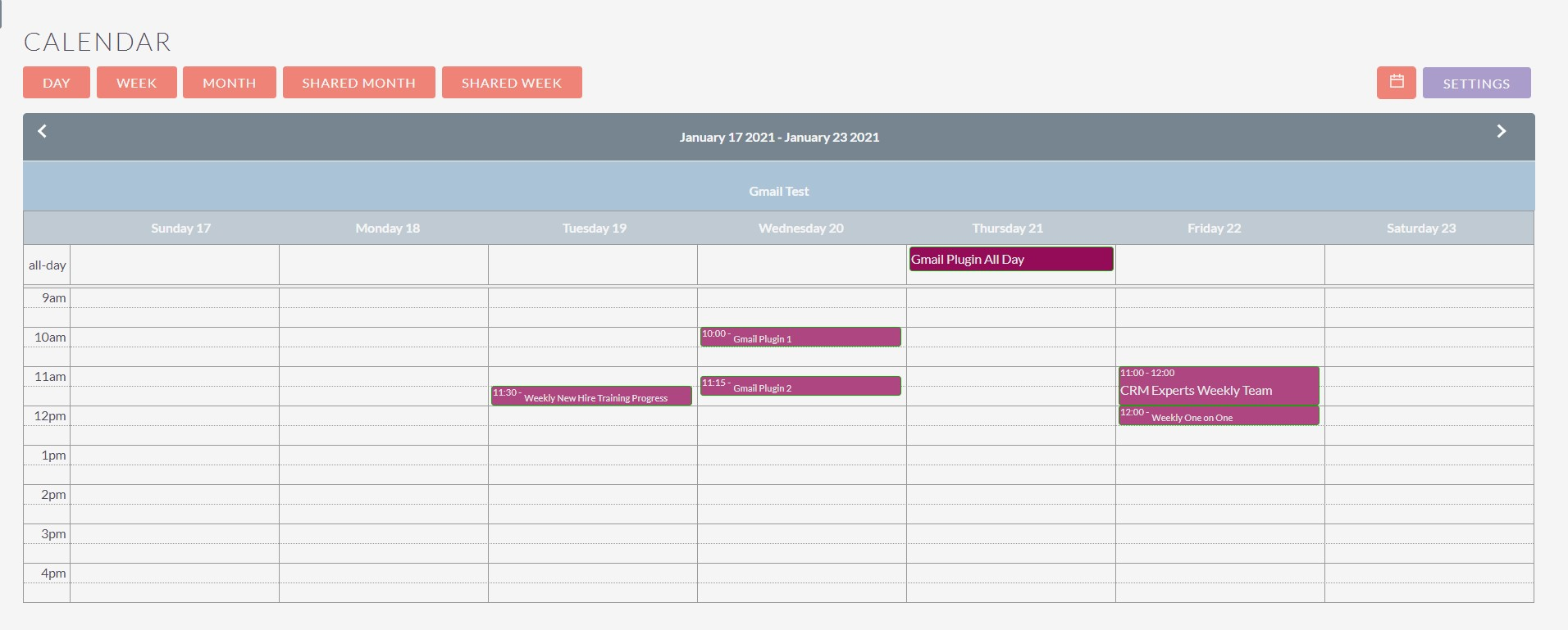 Gmail Ninja for SuiteCRM view calendar