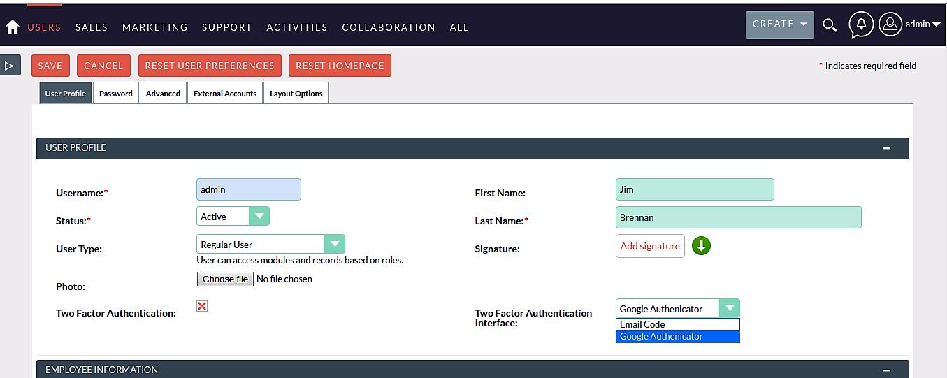 Google Authentication for SuiteCRM code entry
