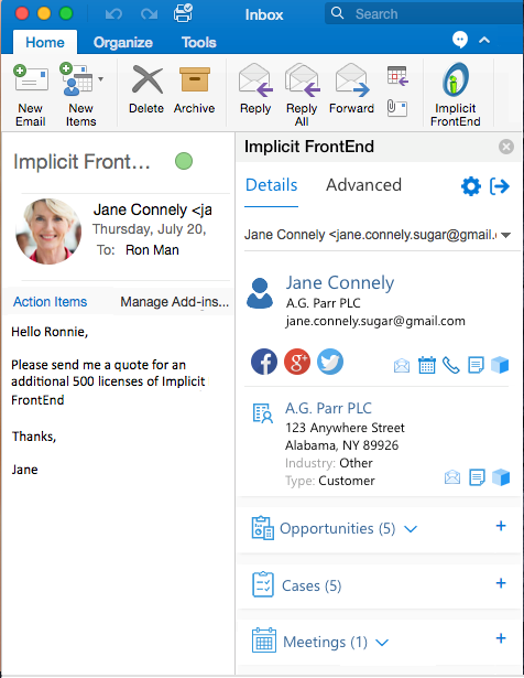 Outlook Plugin for Mac for SuiteCRM